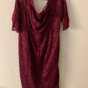 Burgundy Lace and sequin off the shoulder dress
